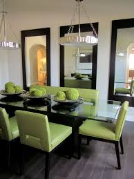 Gorgeous Glass Topped Dining Table And 3 Symmetrical Wall Hung Mirrors Love How