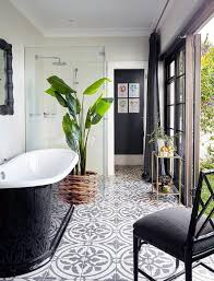 Black Clawfoot Tub And Ornate Printed Floor Tiles For Tropical ... Indoor Porch Fniture Tropical Bali Style Bathroom Design Bathroom Interior Design Ideas Winsome Decor Pictures From Country Check Out These 10 Eyecatching Ideas Her Beauty Eye Catching Dcor Beautiful Amazing Solution Youtube Tips Hgtv Modern Androidtakcom Unique 21 Fresh Rustic Set Cherry Wood Mirrors Tropical Small Bathrooms