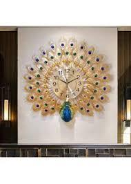 große uhren wohnzimmer kreative pfau wanduhr metall design