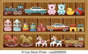 Vintage Toys On The Shelf Vector