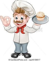 Baker Holding Cake Cartoon Mascot csp