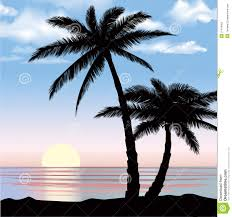 Sunset View Beach Resort With Palm Trees Wallpaper