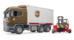Bruder 03581 Scania R UPS Logistics Container Truck With Forklift 1 ...