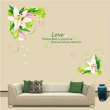 Lily Flowers Wall Sticker On The Vinyl Decor Home Bedroom Backdrop Decals