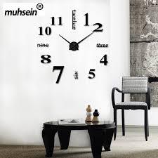 2017 Muhsein New Arrival Diy Modern Clocks Needle Acrylic Watches Big Wall Clock Mirror Sticker Living