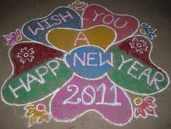 Happy New Year 2011 Rangoli Designs Glass Painting