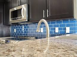 glass backsplash kitchen tile ideas image of blue colored stylish