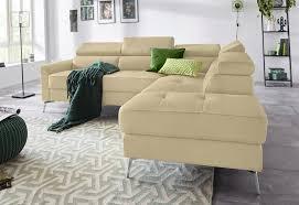 inosign ecksofa juno in trendigen farben in 3 verschiedenen bezugsqualitäten und mit schönen chromfarbenen metallbeinen breite 255 cm