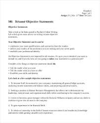 Resume Objective Statement Examples For Information