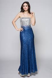 blue and silver sequins strapless formal evening dresses