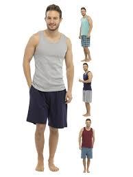 luxury mens pyjama set 2 piece vest top shorts gents boys short