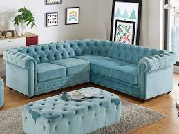canap chesterfield angle canapé d angle en velours bleu pastel chesterfield pastel
