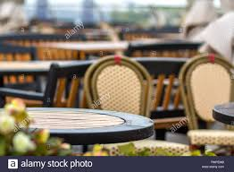 Outdoors Empty Cafe With Nobody, Restaurant Round Plastic ...