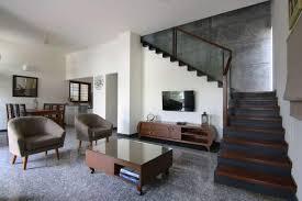 Living Room With Granite Floor Tiles
