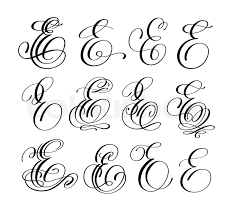 Calligraphy Lettering Script Font E Set Hand Written Signature Letter Design Vector Illustration