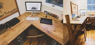 The Rustic Reclaimed Wood Workspace A Large L Shaped Desk