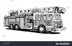 100 Fire Truck Drawing Best Stock Vector Truck On White Background