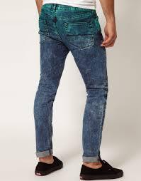 asos asos skinny jeans in dip dye acid wash in green for men lyst