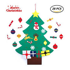 DIY Green Felt Christmas Tree With Wall Hanging Ornaments For Kids