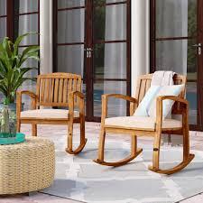 100 Rocking Chair With Pouf Beachcrest Home Coyne Acacia Reviews Wayfair