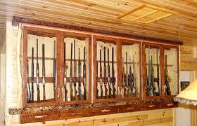 Log Gun Cabinet Wall Mount Rustic Cabin Furniture Lodge