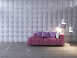 3d rendering bild der innenarchitektur wohnzimmer rosa sofa set und weißen schreibtischle platz auf dem holzboden die leder wand als hintergrund