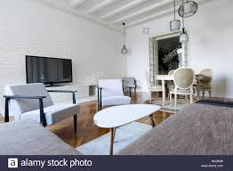 100 Modern Interiors Interiors Livingroom With Furniture Stock Photo