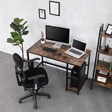 vasagle vintage schreibtisch computertisch pc tisch für bürotisch mit 2 regalebenen auf der rechten oder linken seite arbeitstisch fürs büro