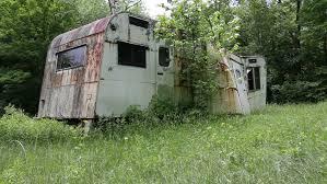 Stock Photo Old Vintage Abandoned Mobile Home Trailer House Camper 176562644 450x320