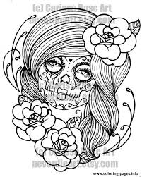 Sexy Woman Sugar Skull Flowers Coloring Pages Print Download