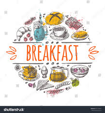 Breakfast Time Concept Design Hand Drawn Vector Illustration Can Be Used For Menu