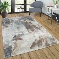 details zu teppich wohnzimmer vintage kurzflor abstraktes muster modern in braun grau