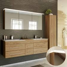 lomado badmöbel set in eiche hell newland 02 doppel waschtisch mit unterschrank led spiegelschrank hochschrank b h t ca 208 200 47 cm