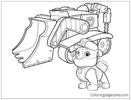 Coloring Pages Paw Patrol To Print Rubble 2 Page Free Online Of Tracker Printable