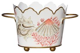 Allen G Designs Shells and Coral design Small Cachepot With