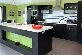 Light Cabinets Dark Countertops For And Polished Wooden Floor Black Stool White Glossy Big Brick Tiles Gray Kitchen