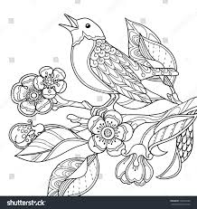 Spring Garden Composition In Doodle Style A Bird Sings On Bloom Branch Ornate