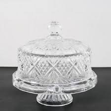 Vintage Cut Crystal Glass Footed Pedestal Cake Stand With Dome Cover
