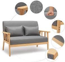 meerveil sofa 2 sitzer sessel mit kissen und leinen massivholzrahmen vintage für schlafzimmer wohnzimmer oder büro dunkelgrau