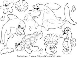 Printable For Kids Coloring Pleasurable Ocean Animal Pages Clip Art