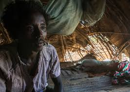 Afar Tribe Man Inside His Hut Region Afambo Ethiop