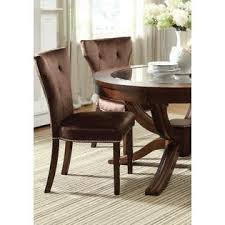Acme United Kingston Formal Round Glass Top Dining Table Set Brown Cherry Chairs Relax Tufted Back Cushioned Chair Nail Head Trim 5pcs