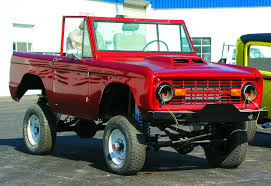 Vintage Red Lifted Ford Bronco Early Ford Small Sports Utility Suv ...