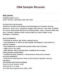 Resume Sample For Cna Summary Of A Best Nurse Assistant Example