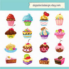 Stylish Sweet Cake Clipart Food Illustration 16 Colorful Cute Cupcakes Clipart 005