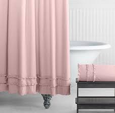 Pink And Purple Ruffle Curtains by Ruffle Pink Shower Curtain