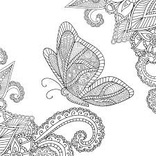Coloring Pages Of Butterflies For Adults Henna Mehndi Doodles Abstract Floral