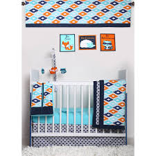 Bacati Crib Bedding by Bacati Liam Aztec Aqua Orange Navy 10 Piece Nursery In A Bag