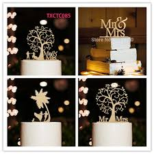 Rustic Tree Style Wooden Cake Topper Mr Mrs Wedding Silhouette Bride And Groom