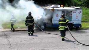 Belt Parkway Ice Cream Truck Fire FDNY Knocking It Down - YouTube